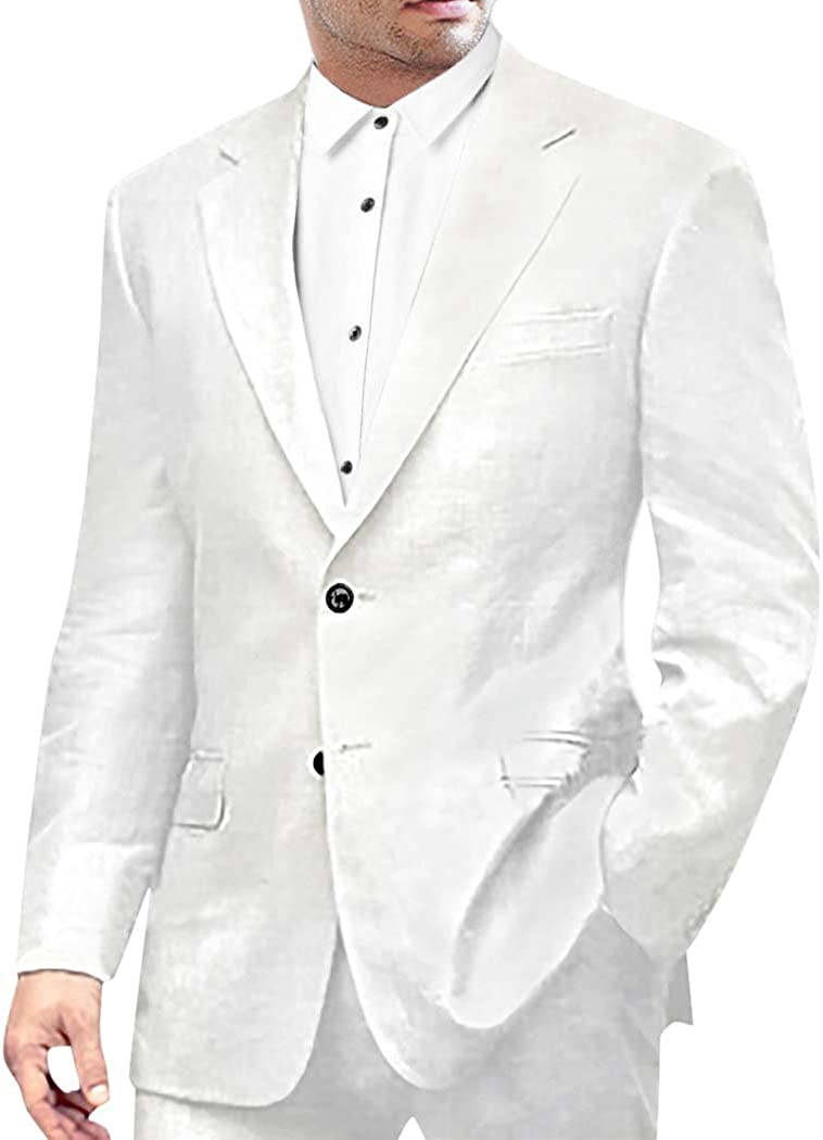 INMONARCH Mens White 2 Pc Linen Suit Classic Style Two Button LS01