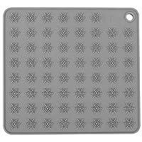 コースター、滑り止めシリコンシリコンマット、キッチンカフェ用カップパッド厚めカップマット(Classic gray square)