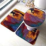 Juego de alfombras Juego de tapetes para alfombras de baño Alfombrilla de baño de 3 piezas + Contorno + Cubierta de tapa de inodoro Almohadilla antideslizante 15.7x23.6 pulgadas Abstract-Grizz-