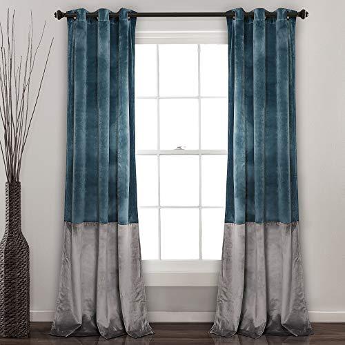Lush Decor Prima Velvet Curtains Color Block Room Darkening Window Panel Set for Living, Dining, Bedroom (Pair), 84' L, Blue & Gray
