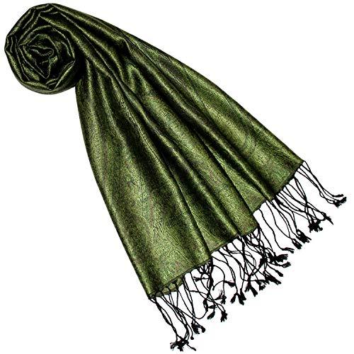 Lorenzo Cana Seidenschal für Frauen Schal 100% Seide gewebt Damenschal elegant Paisley Muster grün Ton in Ton 7841277