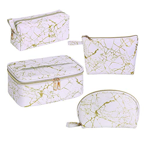 MAGEFY 4Pcs Makeup Bags Portable Travel Cosmetic Bag Waterproof Organizer Multipurpose Case with Gold
