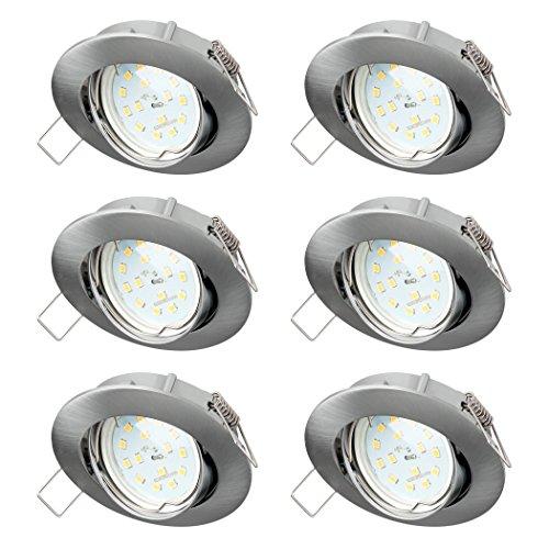 SEBSON Einbaustrahler 6er Pack rund schwenkbar inkl. LED Modul Lampe 5W RA95 warmweiß - Unterputz Decken Einbau Rahmen Alu Lochdurchmesser 75mm