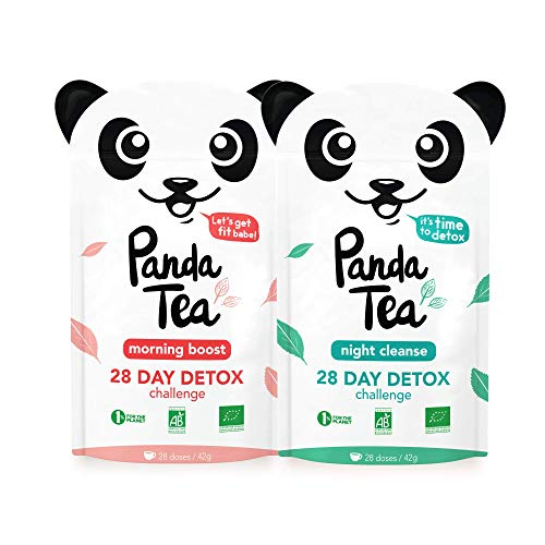 Panda Tea - Thé et Infusion Detox Cure Minceur Bio - 56 Sachets/Infusettes Coton - Challenge 28...
