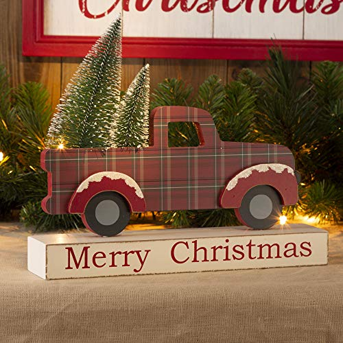 Glitzhome Vintage Christmas Table Centerpiece Merry Christmas Wooden Pickup Truck Decor with Tree Country Christmas Decor for Fireplace Mantle, 12.81 Inches