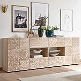 Möbel Akut Sideboard Miros 8 Anrichte Kommode 241 cm breit Holz Eiche Sonoma mit Siebdruck