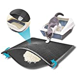 kaxionage Cat Litter Mat, Kitty Litter Mat,Honeycomb Double Layer Litter Trapping Mat Design,Waterproof Urine Proof Cat Mat,Easy Clean Scatter Control (Grey)