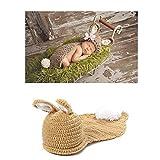 Tbslee Neugeborene Fotografie Requisiten Kaninchen Kostüm, 100% Handgemachte Baby Foto-Shooting Zubehör
