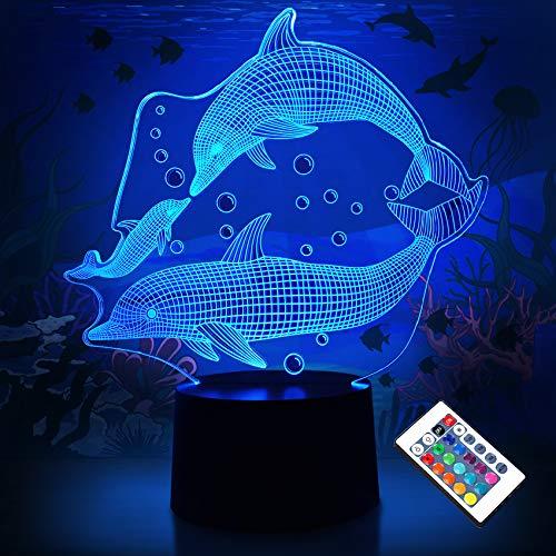 Luz de noche para niños Ocean Dolphin Lámpara de noche de marsopa 3D con control remoto 16 colores que cambian Regalo de cumpleaños de Halloween para niña bebé