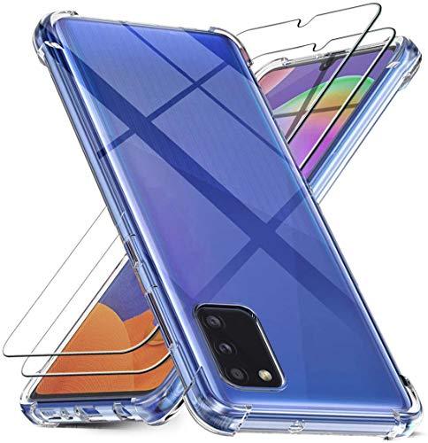 2x Panzerglas + Hülle Samsung Galaxy A41 Schutzfolie. Bildschirmschutzfolie 9H Hartglas und Silikonhülle transparent Panzerfolie für Bildschirmschutz A41