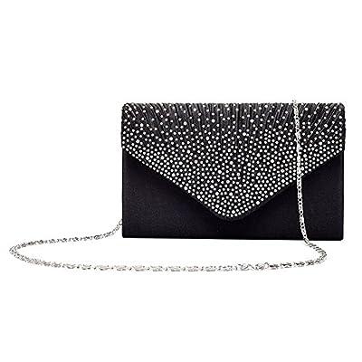 Gyeitee Women Rhinestone Frosted Evening Clutch Bag, Classic Pleated Envelope Clutch Handbag