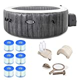 Intex 28439E Greywood Deluxe 4 Person Inflatable Spa/Hot Tub w/ LED Light & 3 Pack Type S1 Pool Filter Cartridges w/ Attachable Cup Holder and Refreshment Tray & Inflatable Headrest & Maintenance Kit