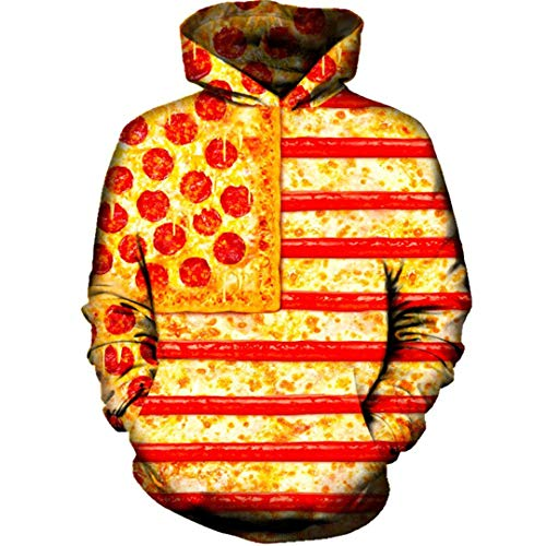Männer Frauen 3D-Langarm-American Flag Pizza Hoodie Pullover Anzug Hoody Tops 3D Hoodie L