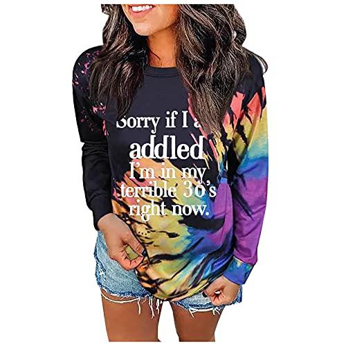 Zldhxyf Sudadera para mujer Tie-Dye sin tirantes, de arcoíris, camiseta de manga larga con tinta casual., Naranja-3, S