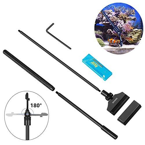 Milai Aquarium Algen Rasiermesser Schaber,Algen Reiniger Einstellbar 66cm Aluminiumlegierung Algenschaber Reinigungsmittel Werkzeug mit 10 Klingen für Glas fischbecken,Ultra Leichtgewicht