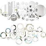 SGBETTER 32 pegatinas redondas de espejo para la pared y 24 pegatinas circulares para espejo de pared, diseño de puntos redondos, para decoración del hogar