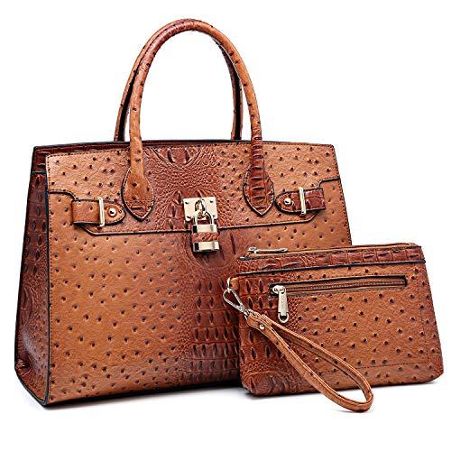 Dasein Handtaschen-Sets für Damen, Schultertasche, Strauß-Griff, Tragetasche, Arbeitstasche mit passender Geldbörse, Braun - braun - Größe: Large