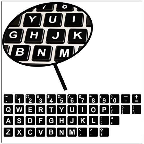 SkinoEu® 1 x Englische US Tastaturaufkleber Tastatur Aufkleber Keyboard Stickers für PC Laptop Notebook Computer Schwarz B 244