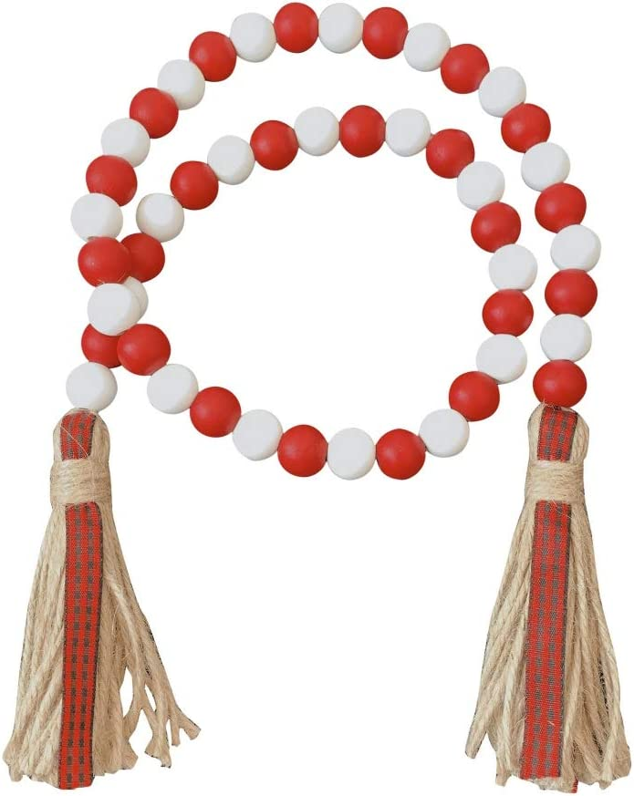 Eiyowei Farmhouse Wood Bead Garland Attract Rustic with Popular shop is the lowest price challenge National uniform free shipping Tassels