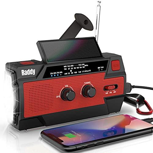 Raddy 多機能防災ラジオ 大容量5000mAh 手回し充電 ソーラー 災害ラジオ 3つモード懐中電灯&人感センサー読書灯付き iPhone/Android 携帯充電可能 電池残量表示でき SOS緊急警報 反射ストリップ付き AM/FM対応 アウトドア