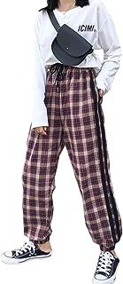 [YEMOCILE] レディース パンツ ロング カジュアル 個性的 オシャレ 人気 チェック柄 ゆったり 着痩せ 美脚効果 春 秋 冬