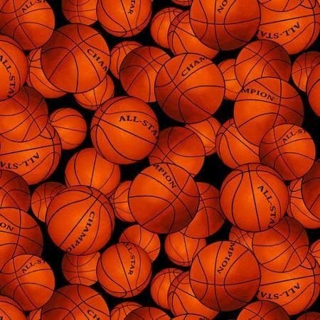 Basketball Fleece Fabric by The Yard