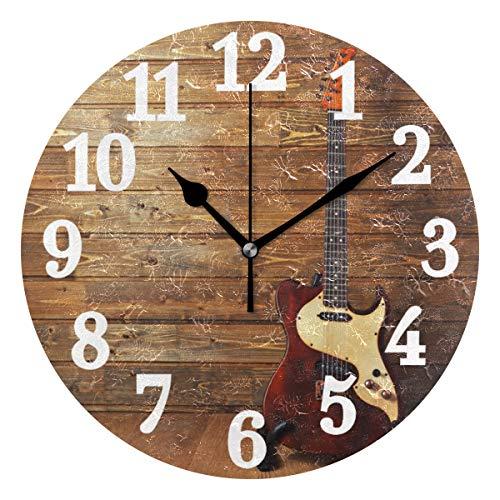 Ahomy Runde Wanduhr mit E-Gitarre auf Holz Home Art Decor Antiticking Ziffern Uhr für Home Office 1 x AA Batterie (Nicht im Lieferumfang enthalten)