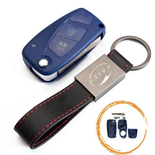kaser Cover Guscio Scocca Chiave Telecomando per Fiat 3 Tasti Punto Panda Ducato Ulysse Doblò (con porta batteria) e Portachiavi in Pelle - Blu