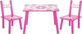 SOULONG Ensemble 1 Table et 2 Chaises pour Enfant en Bois Motif Chambre Meuble Garcon Fille Petit Bureau et Chaise pour En...
