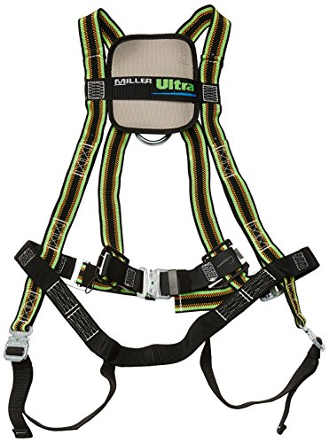 Miller by Honeywell DuraFlex Ultra Stretchable Full Body Safety Harness with Quick-Connect Buckles and Comfort-Touch Back D-Ring Pad, Universal Size-Large/XL, 400 lb. Capacity (E650QC/UGN)