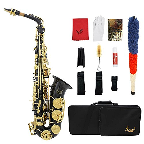 ammoon LADE Eb E-Flat Alto Saxophone Brass Engraved Sax Abalone Shell Buttons with Case Gloves Cleaning Cloth Grease Belt Brush