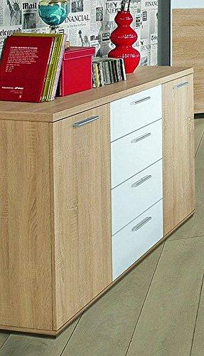 Forte Möbel Sideboard Winnie Kommode 4 Schubladen und 2 Türen, Sonoma Eiche/Weiß