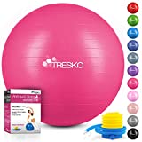 TRESKO Pelota de Gimnasia Anti-Reventones | Bola de Yoga Pilates y Ejercicio | Balón para Sentarse | Balon de Ejercicio para Fitness | 300 kg | con Bomba de Aire | Rosa | 65cm