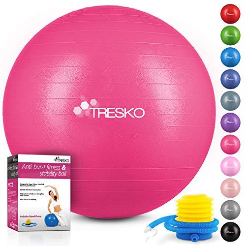 TRESKO® Anti-Burst Gymnastikball 55cm 65cm 75cm 85cm | Sitzball | Yogaball | 300 kg | mit Luftpumpe (Rosa, 55cm (geeignet für 155cm oder weniger))