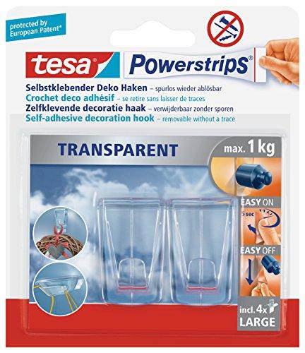 tesa Klebehaken für transparente Oberflächen und Glas (1 kg) - Durchsichtige, selbstklebende Haken - Bis zu 1 kg Halteleistung pro Haken, 2-er Pack
