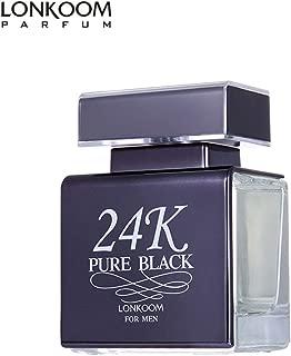 LONKOOM Men's Perfume Valentines Day Gift 24K PURE BLACK Aromatic–Fougere Fragrance Eau De Toilette 100ml
