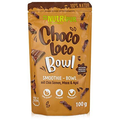 Smoothie Bowl: 100g Choco Loco Porridge Schoko mit Quinoa, Chia Samen, Acai, Kakao uvm. – Superfood Porridge fürs Frühstück und als Snack – Glutenfrei, vegan – Schokolade Müsli Mischung von NutriPur