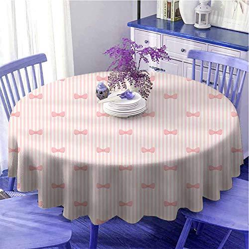 Mantel redondo para bebé, diseño de rayas verticales con pajaritas, paleta pálida, ilustración, precioso para mujer, diámetro 67 pulgadas, rosa pálido, rosa