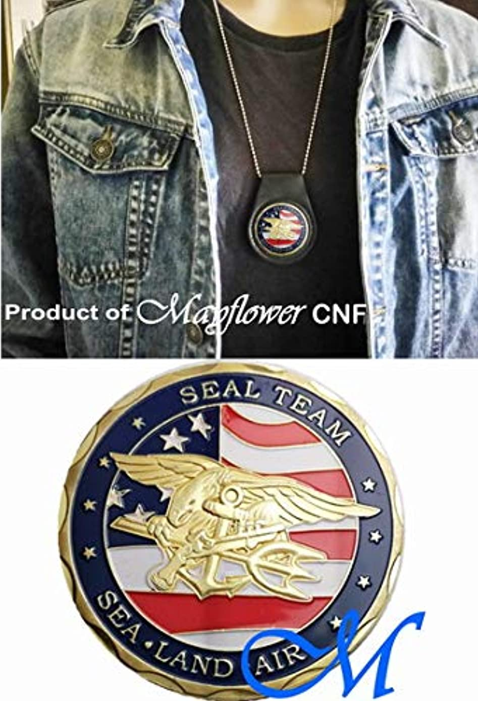 Mayflower CNF Coin &Leather Holder - U.S. Seal Team - Sea - Land - Air - Fight for Freedom