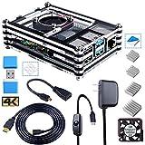 Smraza Case for Raspberry Pi 4 B, Case with Fan, 4PCS Heatsinks, 5V