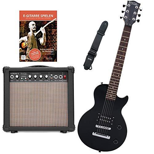 Rocktile L-50B Junior 3/4 Mensur SET (E-Gitarre für Kinder von 6-12 Jahren, Verstärker, Gurt, Kabel) schwarz