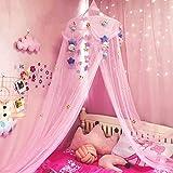 Betthimmel Mädchen, Kinderbett Baldachin mit Plüschtier Dekoration Prinzessin Moskitonetz für Mädchen, Kleinkinder und Erwachsene oder über Babybett Größe