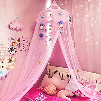 Bed Canopy for Girls Crib Canopy with Plush Toy Decoration Princess Mosquito Net for Girls Toddlers and Adults Or Over Baby Crib Large Size