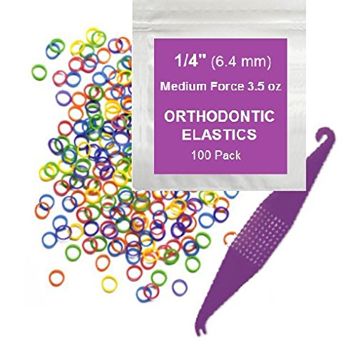 1/4 Inch Orthodontic Elastic Rubber Bands, 100 Pack, Neon, Medium 3.5 Ounce Small Rubberbands Dreadlocks Hair Braids Fix Tooth Gap, Free Elastic Placer for Braces