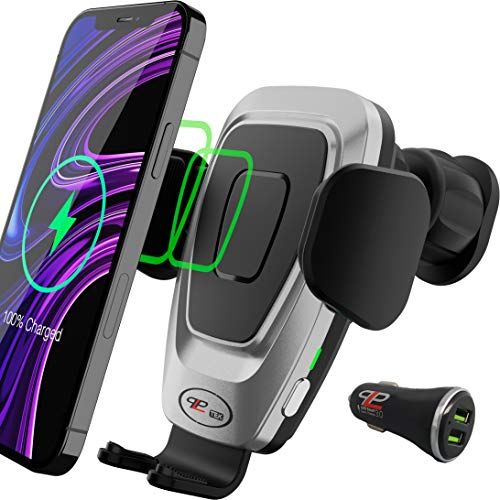 PLP TEK Kabelloses KFZ Ladegerät mit automatisch gesteuerten Spannarme, Auto Handyhalterung mit ladefunktion, 10W QI Induktionsladegerät (rechteckige Lüftungsgitter mit USB-Ladegrrät, Grau-Schwarz)