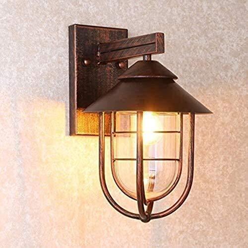MWKL Lámpara de Pared Exterior Porche Balcón Patio Vintage Industrial 1 luz Náutica al Aire Libre en Cobre Antiguo Lámpara de Pared, Linterna de Pared con Pantalla de Vidrio Retro Rain