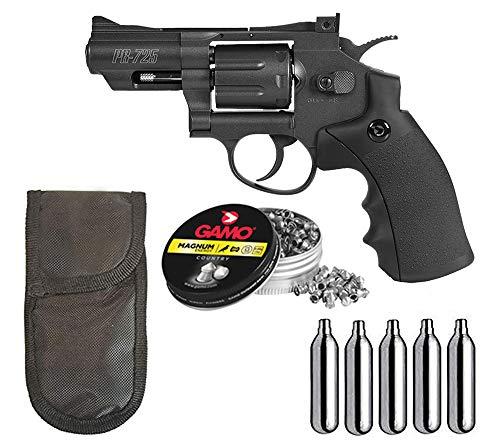 Tiendas LGP- Gamo, Revolver Aire Comprimido (CO2) PR-725   Full Metal, Revolver co2, Potencia de 3 Julios, Calibre de 4.5 mm + Funda portabombonas + 250 Balines + 5 Bombonas CO2