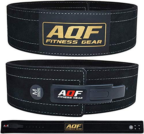AQF Cinturon Lumbar Gimnasio para Levantamiento De Cinturon Gym Hebilla de Palanca Pesas De Cuero Acolchado De 4' Pulgadas para Musculación De Físico (XL)