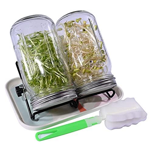 Lot de 2 bocaux à germination à col large (32 oz) avec couvercles en acier inoxydable, plateau, support et distributeur de graines