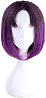 Xingwang Queen Anime 35cm Short Gradient Purple Cosplay Wig Centre Parting Hair Synthetic Party Wigs with free cap
